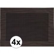 Geen 4x Placemats donkerbruin geweven/gevlochten met rand 45 x 30 cm