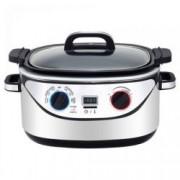 Multicooker 8 in1 Royalty Line RL-EMFC1400.1.d, 1350W, 5.6 l, Slow Cook, Timer, Negru/Inox