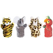 Get Ready Kids Zoo Puppet Set: Elephant, Tiger, Leopard and Parrot