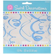 """Amscan Party Perfect Swirl Decorations (Pack of 12), Blue, 22"""""""