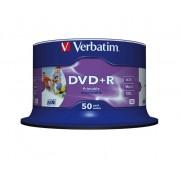 "DVD+R VERBATIM 4.7 GB, 120 min, viteza 16x, Single Layer, spindle, printabil, ""Wide Inkjet Printable"", 50 buc/set"