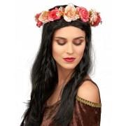 Coroa de rosas e flores brancas adulto