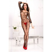 Music Legs Bodystocking paisley à manches longues