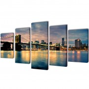 vidaXL Canvas Wall Print Set Brooklyn Bridge River View 100 x 50 cm