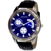 Golden Bell Men'S Black & Blue Round Genuine Leather Strap Wrist Watch (438Gb)