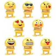 FACE WITH SMILING EYES CUTE SPRING DANCING EMOJI DOLLS Decorative Showpiece - 7 cm (Plastic) pack of 08