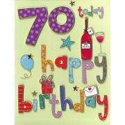 70 jaar - grote verjaardagskaart A4 - happy birthday