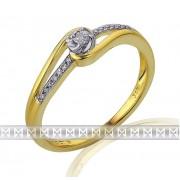 Luxusní mohutný zlatý zásnubní prsten posetý diamanty 15ks/0,08ct 3811834-5-52-9