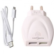 Callmate Dual USB 2.4Amp Fast Charger with Micro Cable - White
