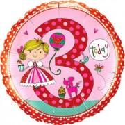 Rachel Ellen - Age 3 Princess Polka Dots Foil Round 18in/45cm