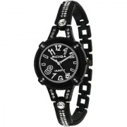 RIDIQA Analog Crystal Studded Black Dial Stainless Steel Wrist Watch ForGirls Women-RD-080