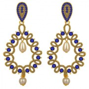 Spargz Antique Gold Plated Blue AD Stone with Pearl Big Long Indian Style Dangle Chandelier Earrings For Women AIER 13
