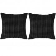 Sierkussenset 45x45 cm velours zwart 2-delig