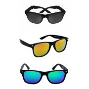 Pack of Three Wayfarer Sunglasses ( 1 Folding and 2 Mirrored Sunglass)