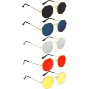 Trendy Glasses Aviator Sunglasses(Black, Red, Blue, Yellow, Silver)