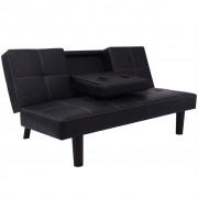 vidaXL Kanapa/Sofa rozkładana ze składanym stolikiem, ekoskóra czarna