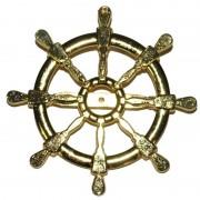 Geen Gouden matroos/zeeman verkleed broche scheepsroer 7 cm