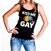 Shoppartners Kiss me i am gay tanktop / mouwloos shirt zwart voor dames