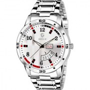 Gen-Z GENZ-SN-SDD-0059 Silver dial stainless steel day and date metal watch for men