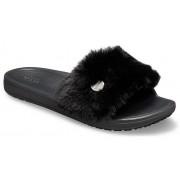 Crocs Sloane Luxe Slides Damen Black / Black 36