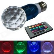 JIAWEN 3W E27 LED RGB Lampara de Cristal Control Remoto - Azul + Transparente (AC100 ~ 220V)