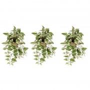 Shoppartners 3x Groene Tradescantia/vaderplant kunstplanten 70 cm met pot - Kunstplanten