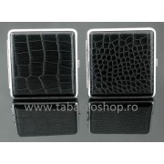Tabachera metalica cu imitatie piele neagra 0022/58