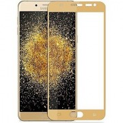 Casemantra Full Covered Tempered Glass Full Screen Color Glass 2.5d For Samsung Galaxy J7 Max - Golden