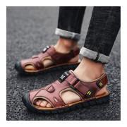 Moda Verano suela antideslizante Slip-on zapatillas zapatos planos de Cuero Hombre Sandalia Brown