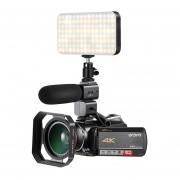Ordro AC5 4 K 12X Zoom óptico 24MP WiFi IPS pantalla táctil Cámara Digital + capucha de lente + gran angular lente + Micrófono + luz LED LANG