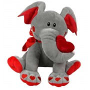 Grey and Red 15 Inch Elephant Soft Toy with Heart Paws