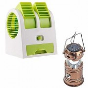 HFK Air Conditioner Cooling Fan Mini Dual Bladeless USB Cooler Fan with with 6 LED Solar Power Camping Lantern Rechargab
