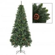 vidaXL Изкуствено коледно дърво с шишарки, зелено, 210 см