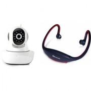 Zemini Wifi CCTV Camera and BS19C Bluetooth Headset for SAMSUNG GALAXY J3 (Wifi CCTV Camera with night vision |BS19C Bluetooth Headset With Mic )