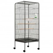 vidaXL Клетка за птици, сива, 54x54x146 см, стомана