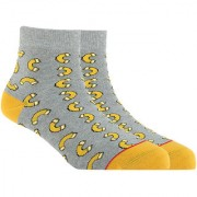 Soxytoes Mac & Cheese White Cotton Ankle Length Pack of 1 Pair Unisex Casual Socks (STS0113)