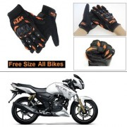 AutoStark Gloves KTM Bike Riding Gloves Orange and Black Riding Gloves Free Size For TVS Apache RTR 180