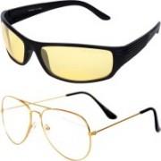 I KING Aviator, Wrap-around Sunglasses(Yellow, Clear)