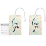 100yellow Luggage Tags- Love You Printed PVC Tag with Silicon Strap- Ideal For Gift-Pack Of 2 Luggage Tag(Multicolor)