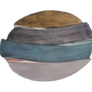 METALCRAFTS Serving platter tray made of aluminium fancy table top colour blue/multi found shape 16 inch. 40 cm