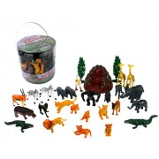 Wild Animal Safari Action Figures - Big Bucket of Jungle Safari Animals - Huge 30 Piece Set