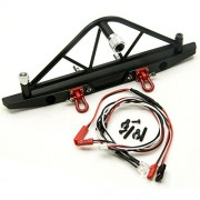 MOHERO Steel Rear Bumper Bull Bar & Spare Tire Rack & 2 Led Lights Taillights for 1/10 RC Car AXIAL SCX10 Black 1 Set