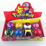 Hooriya Pokemon Balls With Random Toy Set Of 8 Balls (Each Ball -7Cm&Each Toy 2Cm) (Multi Colour )