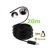 NTR ECAM07 Vízálló endoszkóp kamera 640x480 5,5mm átmérő 6LED világítással USB2.0 20m