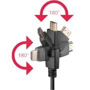 AK HDMI 300-360 - High Speed HDMI Kabel mit Ethernet, 2x180°, 3 m