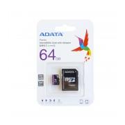 Card de memorie microSDXC UHS-I Clasa 10 64GB ADATA Premier cu adaptor SD