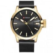 Ceas Curren Unisex Quartz Casual Elegant Auriu/negru PN999923GNU curea din piele afisaj Analog