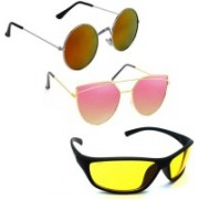 Vitoria Round, Wrap-around, Cat-eye Sunglasses(Multicolor)