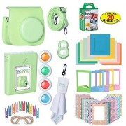 ElectronicsClub The Ultimate Accessories Kit Bundle for Fujifilm Instax Mini 9 Instant Film Camera Includes Leather Camera Case + 20 Sheets of Instant Film + Photo Album + Frames + Close-Up Selfie Lenses + More