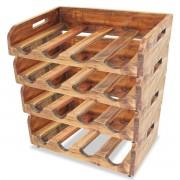 vidaXL Wijnrekken - Massief gerecycled hout - 4 stuks - 16 flessen